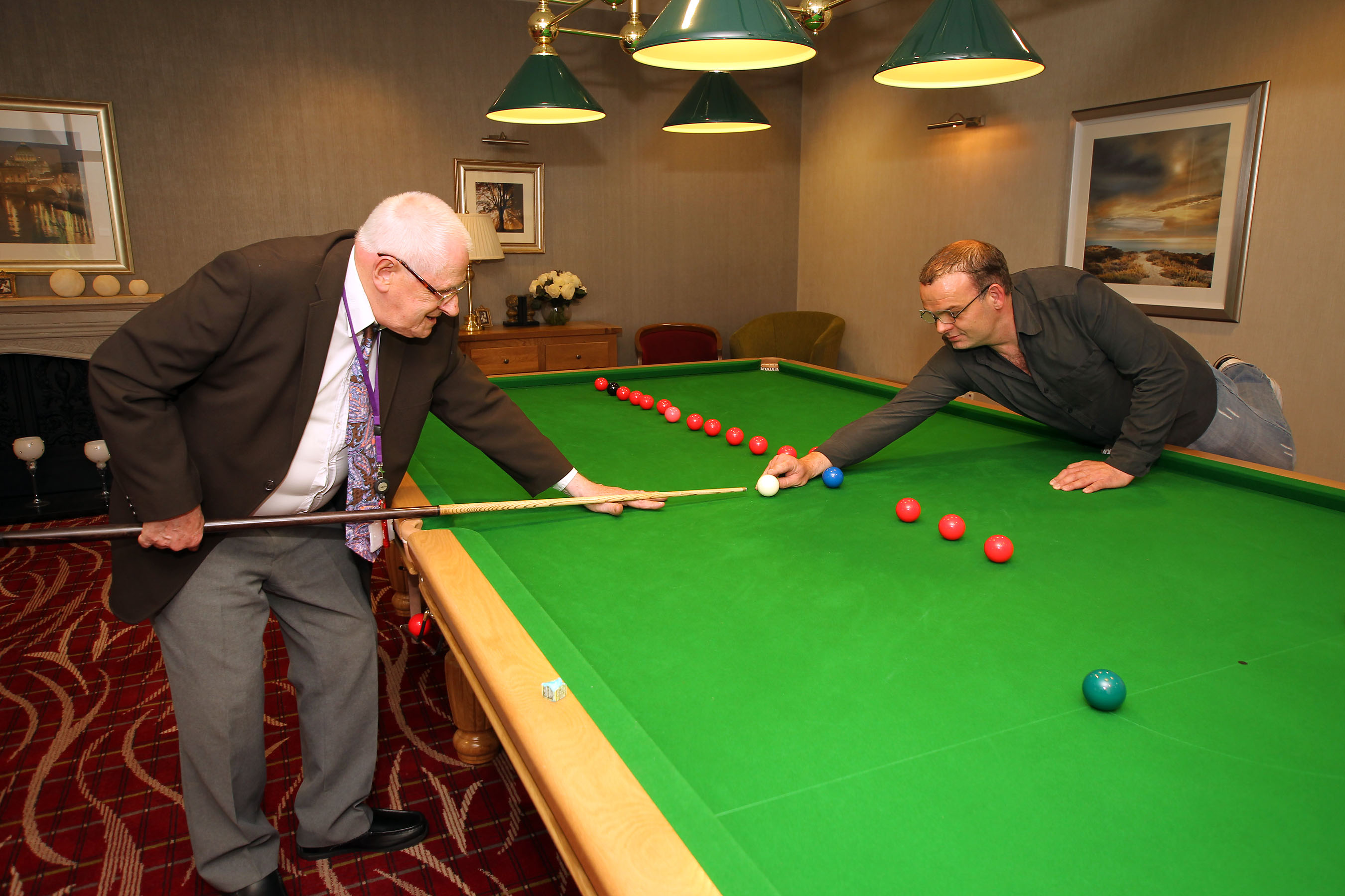 Enjoying a game of snooker