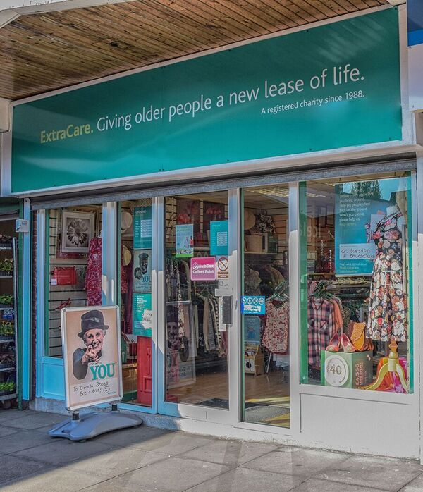 Exterior of an ExtraCare Charity Shop