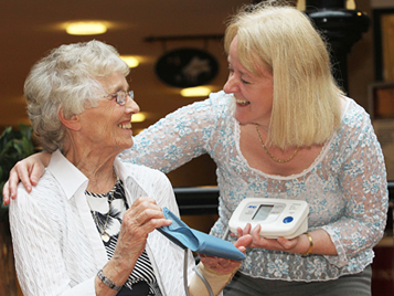 New Oscott Village resident Mabel Povey with Dr Carol Holland, Director of Aston Research Centre for Healthy Ageing